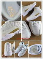 venda por atacado men shoes footwear-OVO quente retro XII 12 sapatas de basquetebol para o instrutor atlético dos homens ostenta a sapatilha preta do whtie dos calçados 12s