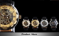 Wholesale Golden Men Skeleton Mechanical Watch Stainless Steel Steel Hand Wind Watches Transparent Steampunk Montre Homme Wristwatch