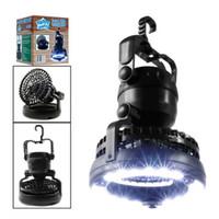 2-en-1 luz de la tienda 18 LED Linterna camping luz al aire libre Senderismo LED con techo ventilador de refrigeración al aire libre Senderismo Latern
