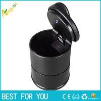 Wholesale Fashion Durable portable car ashtray car interiors Home frame set black dolly travel ash holder LED lamp ashtray