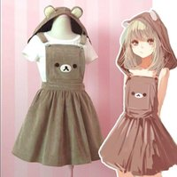 Wholesale 2016 So Cute Girl s Kawaii Rilakkuma Suspender Cosplay Dress Bear Embroidery Lolita All season Overall Dress with Detachable Hat