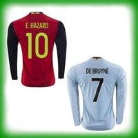 Nueva Jersey 2016 Euro Bélgica calidad de Tailandia de 2017 manga larga Bélgica Euro camiseta de fútbol de movimiento PELIGRO De Bruyne KOMPANY las camisas del fútbol