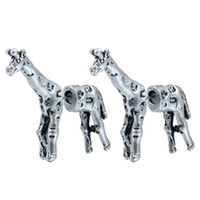 antique brass screws - 10Pair Antique Silver Realistic Giraffe Earrings D Animal Stud Earrings for Women Fashion Earring