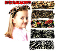 Wholesale Cheap Ear Stretching - Hot fashion baby rabbit ear hair band 2016 Leopard stretch fabric cheap wholesale kids hair accessories factory direct 30pcs