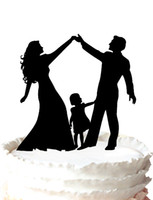 Wholesale Acrylic Wedding Cake Topper Silhouette Bride and Groom and Little Girl Family Party Decoration