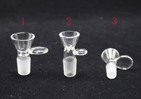 Wholesale 3 models Glass Bowl Tobacco And Herb Dry Bowl Slide For Glass Bong And Pipes mm mm Male Joint Glass Bowl With Handle