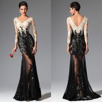 Reference Images pink and black prom dresses - 2016 New Sexy Sheer Lace Black And White Evening Dresses Mermaid Long Sleeves Formal Prom Dresses V Neck Sequins Appliqued Lace Prom Gowns