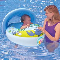Wholesale Summer swimming ring baby swim ring wooden seat floating row baby seat crab ring baby floating ring band sunscreen sun shelter