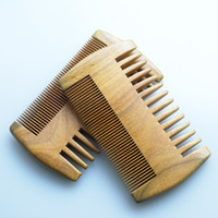 Wholesale Wide Corase Fine Tooth Pocket Beard Comb High Quality Handmade Green Sandalwood Ox Horn Hair Comb Gift Handicraft Souvnirs