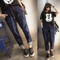 Wholesale The new spring womens yards jeans women fat long pants loose fat younger sister panty
