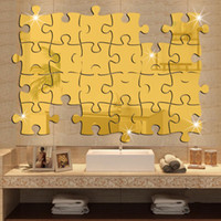 bathroom puzzles - Puzzle Labyrinth Decal Art Decals Silver Gold Wall Stickers Acrylic Building Blocks Mirror Wall Sticker Home Decoration