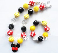 bubble gum necklace - 2set or Retail bubble gum chunky beaded necklace amp bracelet for kids jewelry decoration