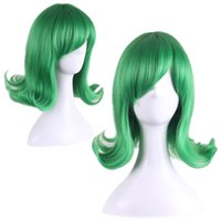average size men - green wig cosplay one punch man senritsu no tatsumaki wig heat resistant synthetic wigs short curly hair anime wigs for womens