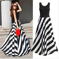 Wholesale Cocktail Party Gown Wholesale - In Stock Special Occasion Dresses Long Maxi Dress Summer Women Sexy Striped Beach Party Women Ball Gown Stripe Maxi Long Vintage Dress
