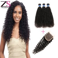 Wholesale 8A Human Hair With Closure Peruvian Malaysian Indian Kinky Curly Hair With Closure Brazilian Human Hair Kinky Curly With Closure