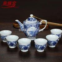 Wholesale Jingdezhen ceramic tea cup blue suit teapot