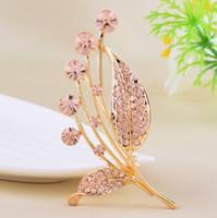 beautiful czech women - Czech diamond bouquets brooches Rhinestone Alloy Jewelry brooch leaf Unisex fashion scarf buckle beautiful bridal broche for women pin pins