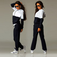 Cheap 2016 Fashion Womens Zipper Tracksuit Hoodie Sweatshirt+Pants Casual Patchwork Hip Pop Sportsuit sportwear Suits For Women