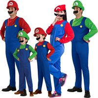 Wholesale Family matching Funy Halloween Cosplay Costume Super Mario Luigi Brothers Fancy Dress Up Party Cute Costume For Adult Children