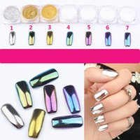 art mirrors - 2g Colorful Nail Glitter Powder Shinning Mirror Effect Nail Makeup Powder Dust Nail Art DIY Chrome Pigment Glitters With Two Brushes