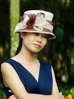 al por mayor vestidos de boda de marfil de color marrón-Marrón marfil pequeño borde sombrero de vestir formal Iglesia Sinamay Hat para Kentucky Derby, boda, fiesta, Ascot