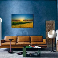 arts field - 1 Picture Combination Wheat Field Next To Sunflower Pictures Completely No Framed With Stretcher Art Print For Home Decor
