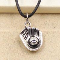 baseball glove prices - 12pcs New Fashion Tibetan Silver Pendant baseball glove mm Necklace Choker Charm Black Leather Cord Factory Price Handmade Jewlery