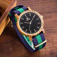 imported fabric - UWOOD Luxury Brand Natural Zebra Sandal Wood Nylon Band Wristwatch Japan Imported Movement Wood Dress Watch For Unisex