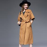 Wholesale Custom Design Waist Sashes - New European design custom temperament suede women 's windbreaker lotus leaf short - sleeved lace jacket Trench Coats
