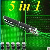 Wholesale car New Powerful Green Laser Pointer Pen in in Laser Star Cap mw Ray Beam PE bag package