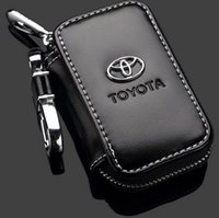 Wholesale Car Key Case Toyota Logo Premium Leather Car Key Chains Holder Zipper Remote Wallet Bag for Toyota Remote Key Bag key cover accessories