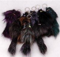 automotive key rings - Animal crazy city cartoon keychain small rodents fox fur ornaments bags automotive metal key ring A20