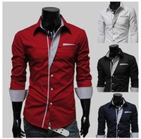 Wholesale New Colors Man Shirts Long Sleeve Single breasted Pocket Dress Shirts Men Clothing Patchwork Turn down Autumn Plus Size M XL drop shipping