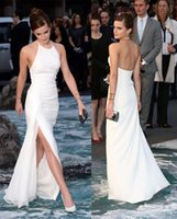 Wholesale 2016 Emma Watson Evening Dresses With Jewel Neck Split Floor Length Celebrity Red Carpet Dress Formal Evening Gowns PD70009