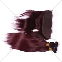 Wholesale Brazilian Straight Hair With Lace Frontal J Burgundy Virgin Human Hair Bundles With Ear to Ear Full Frontal Lace Closure