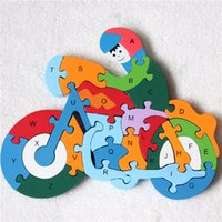 Wholesale 2016 Hot sales D wooden alphabet puzzle Cute motorcycle Colorful baby kid s Early Learning educational toys Factory outlets
