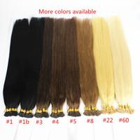 Wholesale 100 Brazilian Virgin Hair Natural Black Straight Keratin Stick tip or I tip Pre bonded Keratin Fusion Hair Extensions s g s