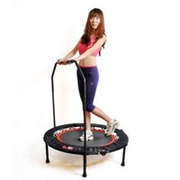Wholesale 40 quot Indoor Foldable Round Exercise Trampoline Fitness Trampoline for Adult with Bar for Child kids and Adult Fitness Equipments