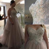 Wholesale Plus Size Wedding Dresses Romantic vestidos de novia with Beaded Skirt Hem and Major Beading Bodice Ball Gown for Real Brides