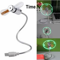 venda por atacado mini fan-Novo quente vendendo USB Mini Flexível Tempo LED Relógio Fan com luz LED - Cool Gadget Frete Grátis Loja por atacado