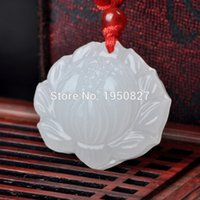 Wholesale NEW High Quality Natural White Jade Lotus Pendant Lucky Amulet Pendant Necklace Jade Jewelry