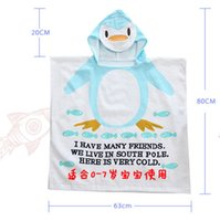 Wholesale Blue penguin cotton Animal Baby Bathrobe Children Beach Towel Soft Cotton Kids Bathrobe infant bath towel cm