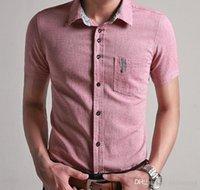 tommy shirt - 2016 Summer New Linen Crocodile Slim Fit Men s Fashion Casual Short sleeved Shirt Korean Version T shirt Men Dress Tommy