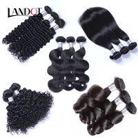 Cheap Peruvian Malaysian Brazilian Virgin Human Hair Weave Bundles Body Wave Straight Loose Deep Kinky Curly Hair Extensions Natural Black Dyeable