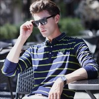 big business t shirt - 2016 new winter long sleeve T shirt male men POLO shirt stripe business render unlined upper garment of loose big yards