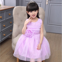 Cheap 2016 New style summer girl big flower lace mesh princess dresses fashion sleeveless jumper skirt kids clothing for 5-15Y children wedding