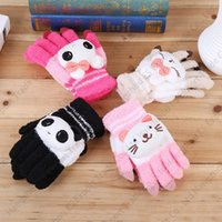 animal ski gloves - 2016 New Creative Cartoon Head Outdoor Gloves Girl Boy Winter Thickening Warm Kids Gloves Ski Mittens For Years Old
