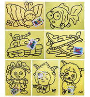 Wholesale 50lots A cm Sand Painting With Color Sand Kids DIY Toys Mixed Design Send Sand Art Kit jy306