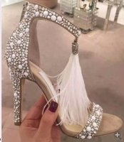 aa personality - 2016 sexy personality elegant suede Feathers Stiletto cm banquet sandals rhinestones open toe metal charm Princess Shoes