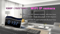 Wholesale 1080P wi fi wireless clock IP hidden camera WIFI IP cam clock spy nanny camera security camera with sony module